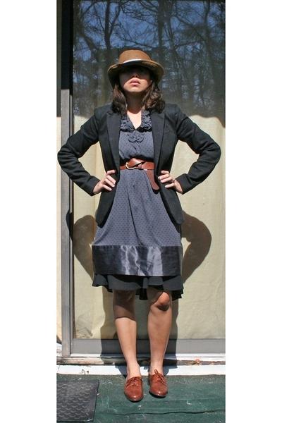 Forever21 hat - Armani Exchange blazer - Gap dress - random brand skirt - trotte