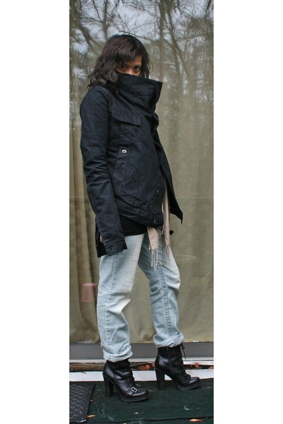 Rick Owens jacket - random brand top - random brand jeans - Guess boots - H&M sc