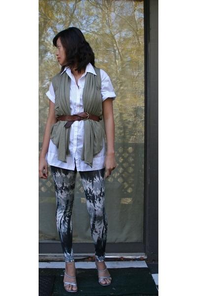 vince shirt - random from Barneys vest - Gap belt - Forever21 leggings - random