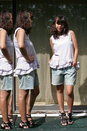 Marc by Marc Jacobs blouse - DIY shorts - Nine West shoes