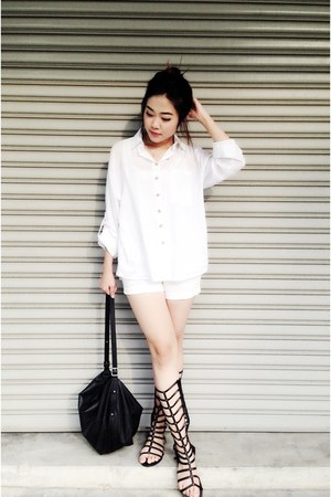 black H&M bag - white boyfriend shirt shirt - black Accessorize sandals