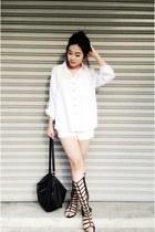 black H&M bag - white boyfriend shirt shirt - black Accessorize sandals