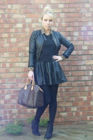 black streetstyle asos skirt - black street style new look boots