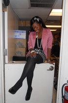 pink random brand blazer - black Express skirt - f21 accessories