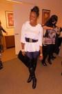 White-f21-blouse-black-jessica-simpson-boots-black-h-m-coat