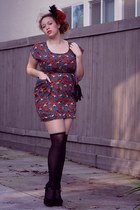 A is for Audrey dress - ruby red unknown hat - black Forever 21 tights - black W