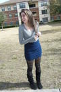 Black-boots-blue-skirt-gray-shirt-black-tights