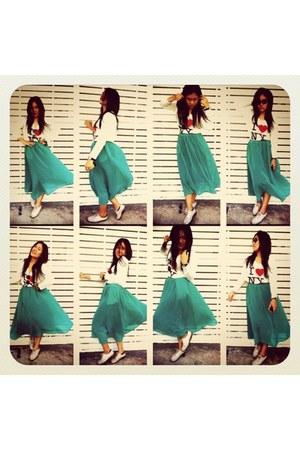 aquamarine skirt - ivory second hand shoes - ivory i baby shirt