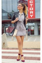 charcoal gray Solar dress - black H&M jacket - brick red Zara heels
