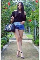 black OASAP blouse - black Zara heels