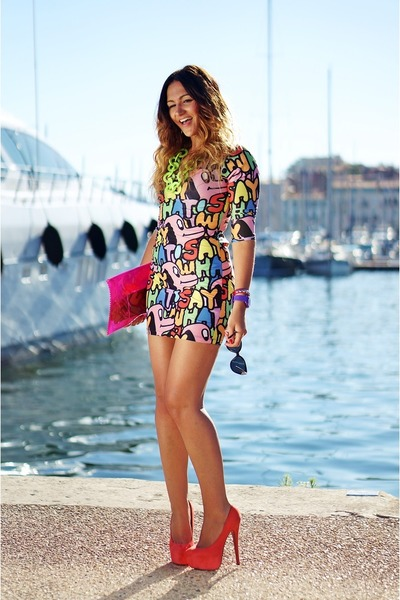 hot pink Lazy Oaf dress - red Wilady heels - chartreuse Streostore necklace