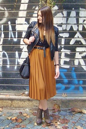 burnt orange skirt - black H&M jacket