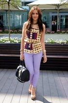 dark brown H&M Marni blouse - light purple new look pants