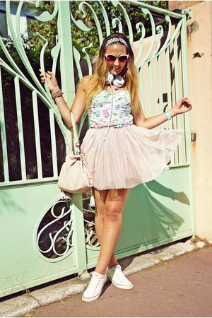 light blue vintage top - white Converse shoes - light pink vintage skirt