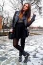 Black-zara-skirt-black-gap-boots-gray-zara-jumper