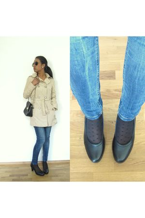 beige Zara coat - black asos accessories - Topshop jeans - black Tamaris shoes -