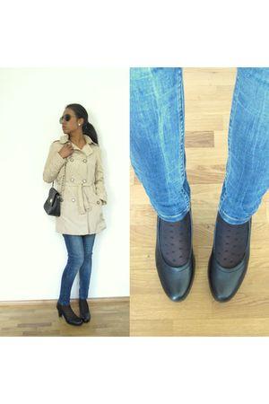 beige Zara coat - black asos accessories - Topshop jeans - black Tamaris shoes -