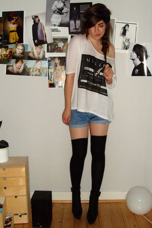 white weekday shirt - blue DIY shorts - black vagabond shoes - black H&amp;M accesso