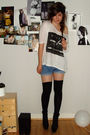 White-weekday-shirt-blue-diy-shorts-black-vagabond-shoes-black-h-m-accesso