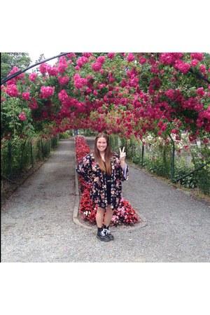 floral kimono asos top - black Dr Martens boots - rachel rachel roy shirt