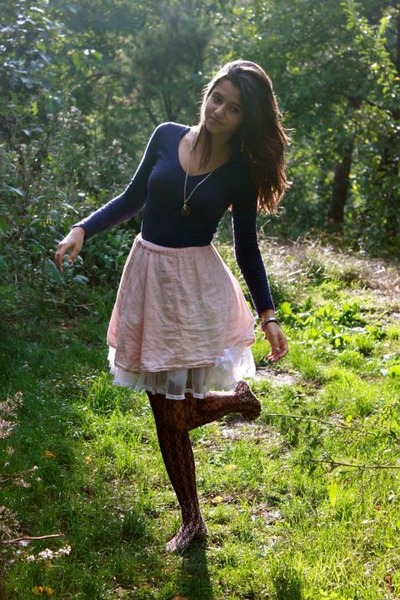 light pink skirt - ivory Childrens Place skirt - navy conway shirt