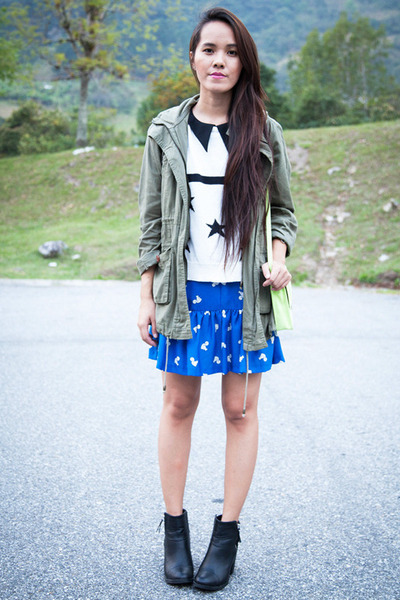black H&M boots - blue Topshop dress - chartreuse H&M bag