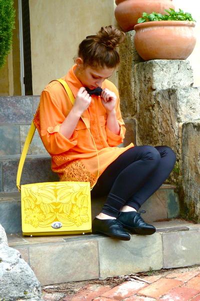 yellow etched satchel asos bag - black Sportsgirl leggings - black bowtie tie