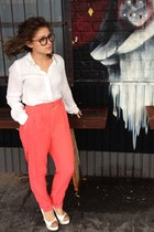 white studded collar bardot blouse - coral high waisted Forever 21 pants