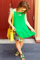 green Jeffrey Campbell sandals - yellow asos bag - purple Maurie & Eve skirt