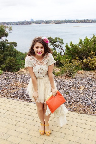 cream Princess Polly dress - carrot orange clutch Sportsgirl bag