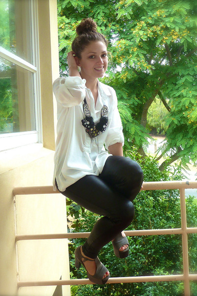 white supre blouse - black Erin Louise accessories - black cotton on leggings -