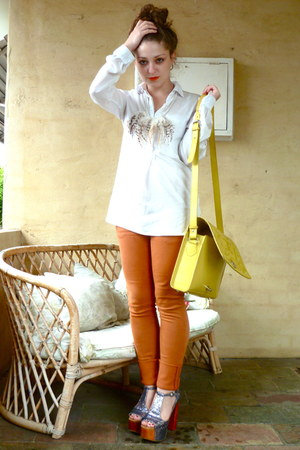 silver Jeffrey Campbell heels - orange April77 jeans - yellow asos bag