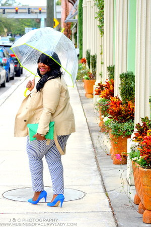 trench coat Old Navy coat - envelop clutch asos bag - polka dots Old Navy pants