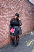 black leather pleated asos skirt