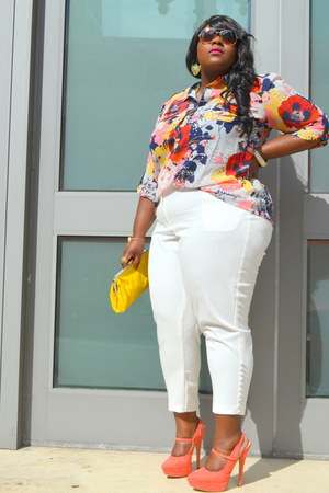 JC Penny blouse - yellow purse - brown aviators Nine West sunglasses