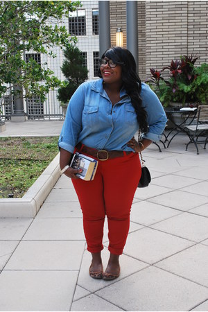 red Forever 21 jeans - blue denim shirt Jcpenny shirt