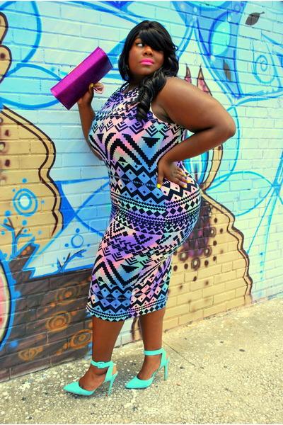 magenta straw clutch H&M bag - violet asos dress - aquamarine ankle strap heels