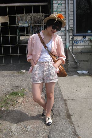 pink Gap shorts - pink H&M shoes - white Forever21 shirt - pink blouse - beige h