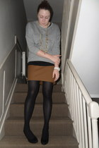 heather gray whistles sweater - gold Chanel necklace - black Topshop t-shirt - t