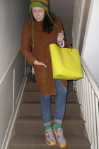 tawny Zara coat - blue Uniqlo jeans - lime green random hat