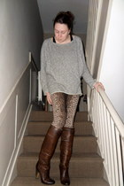 dark brown martin margiela boots - heather gray Topshop sweater - brown TopShop