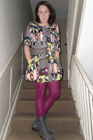 pink H&M dress - purple Marks & Spencer tights - gray we who see boots