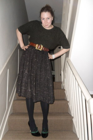 forest green whistles jumper - brown charity shop belt - dark brown Zara skirt -
