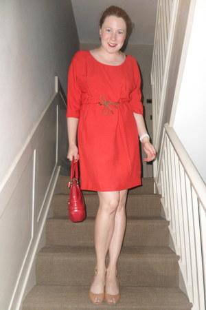 red Zara dress - ruby red Alexander McQueen bag - tan Christian Louboutin wedges