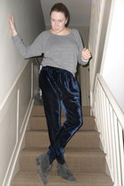 heather gray American Apparel top - navy asos pants - charcoal gray Topshop boot