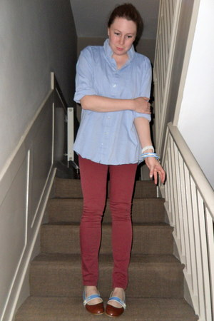 brown Marc Jacobs shoes - maroon Topshop jeans - sky blue American Apparel shirt