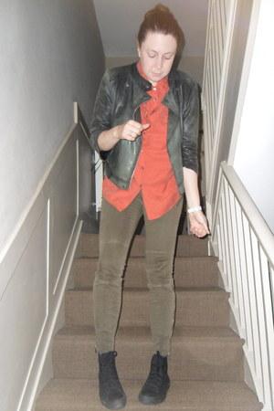 black leather Topshop jacket - burnt orange silk whistles shirt - army green J B
