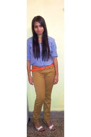 shirt - denizen pants - heels - belt