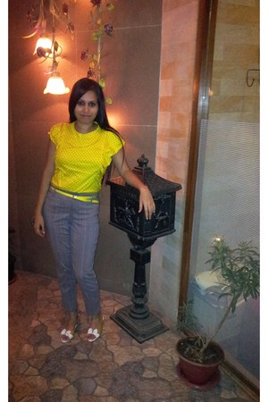 Room Essentials blouse - Shoppers Stop belt - Remanika pants - Miss Sixty heels