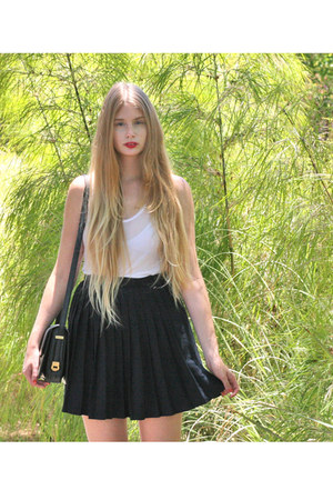 black vintage skirt - white American Apparel top